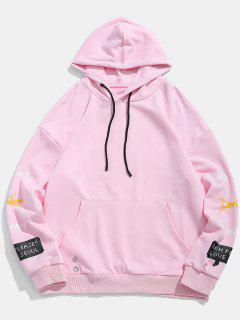 Letter Print Embroidery Detail Hoodie - Pink M