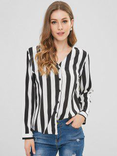 V Neck Striped High Low Blouse - Black S