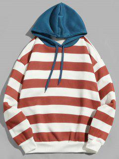 Contrast Striped Print Fleece Hoodie - Cherry Red M