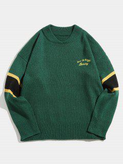Suéter De Punto Con Rayas A Rayas En Punto - Verde De Bosque Oscuro L