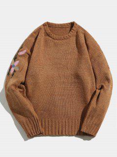 Suéter De Punto Bordado Flor - Caqui L