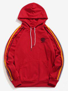 Striped Embroider Pullover Kangaroo Pocket Hoodie - Lava Red Xl