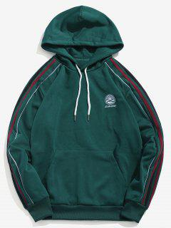 Striped Embroider Pullover Kangaroo Pocket Hoodie - Medium Sea Green Xl