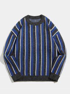 Contrast Vertical Striped Knit Sweater - Blue L