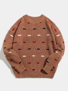 Suéter De Punto Suelto De Cuello Redondo - Salmón Naranja L