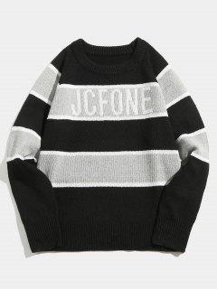 Suéter De Punto Rayado Contraste - Negro L