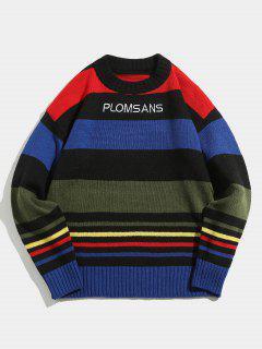 Suéter De Punto Color Block - Negro L