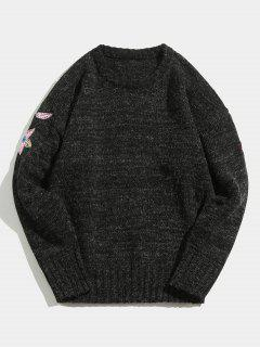 Flower Embroidered Knitted Sweater - Black L