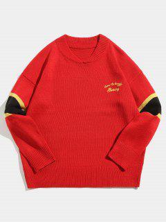 Suéter De Punto Con Rayas A Rayas En Punto - Rojo M