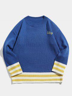 Edge Stripe Letter Contrast Knit Sweater - Blue Xl