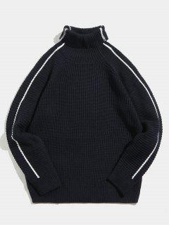 Suéter De Cuello Alto A Rayas En Contraste Lateral - Azul Marino  2xl