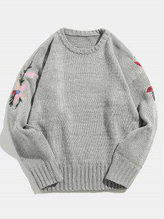 Suéter De Punto Bordado Flor - Gris Xl