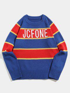 Letter Striped Contrast Knit Sweater - Blue M
