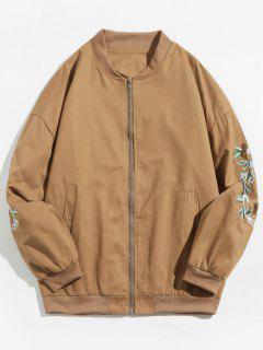 Casual Embroidery Bomber Jacket - Khaki Xl