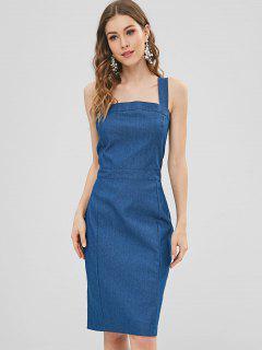Apron Neck Chambray Zipped Pencil Dress - Blue L