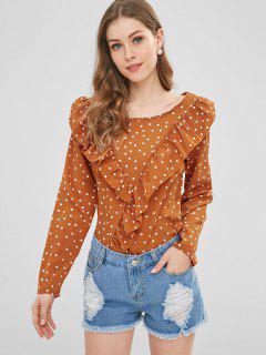Romantic Ruffle Polka Dot Top - Sunrise Orange S