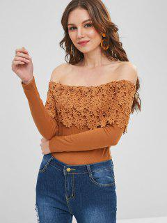 Lace Overlay Ribbed Off The Shoulder Top - Light Brown L