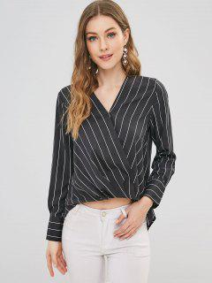 Striped High Low Surplice Blouse - Black L