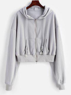Zip Up Fleece Lined Oversized Hoodie - Light Gray M
