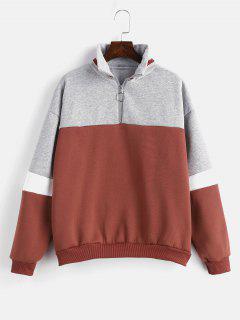 Fleece-Sweatshirt Mit Hohem Kragen Und Farbblock - Kastanie