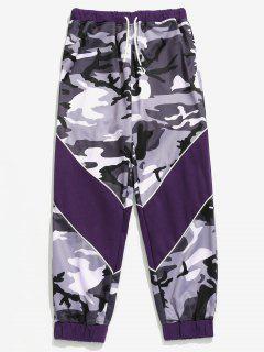 Drawstring Camouflage Pattern Jogger Pants - Light Slate Gray L