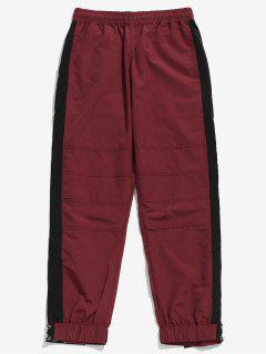 Drawstring Contract Color Jogger Pants - Red Wine Xl