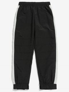Drawstring Contract Color Jogger Pants - Black L