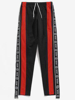 Pantalones Casuales De Bloques De Color Con Estampado De Letras - Negro 2xl