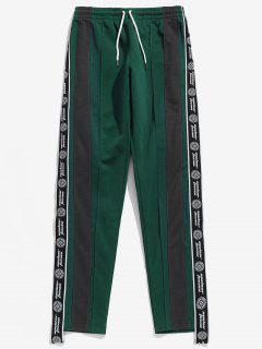 Letter Print Color Block Casual Pants - Deep Green L