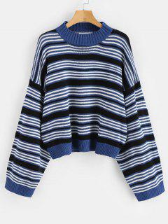 Drop Shoulder Oversized Stripes Sweater - Multi