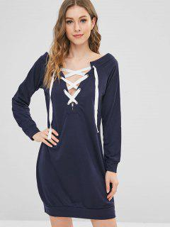 Long Sleeve Lace Up Shift Mini Dress - Deep Blue S