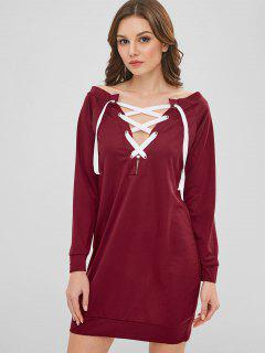 Long Sleeve Lace Up Shift Mini Dress - Red Wine M