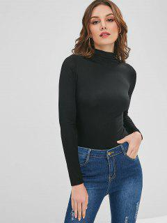 High Collar Long Sleeve Tee - Black