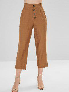 Side Pockets Buttoned Up Tapered Pants - Light Brown S