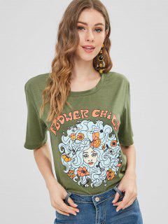 Girl Floral Print Graphic Tee - Army Green Xl