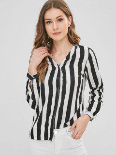 Striped V Neck Button Up Top - Multi L