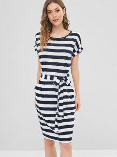 Striped Tie Waist Tee Dress - Multi L