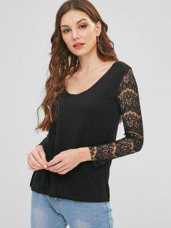 Sheer Lace Sleeve Scoop Neck Sweater - Black Xl