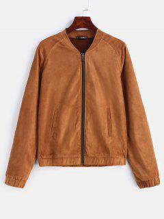 ZAFUL Faux Suede Bomber Jacket - Brown M