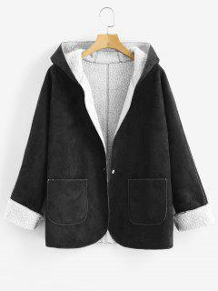 Cuffed Sleeves Hooded Sheepskin Coat - Black L