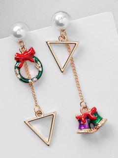 Asymmetric Christmas Bell Hollow Earrings - Red