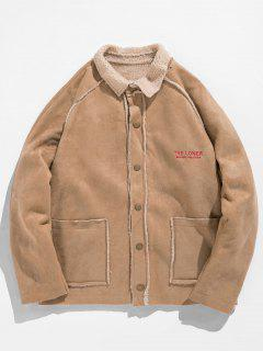 Retro Letter Embroider Fleece Jacket - Khaki L