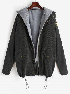 ZAFUL Fleece Vest And Corduroy Jacket Twinset - Black S
