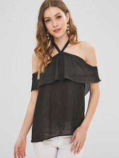 Ruffle Overlay Cold Shoulder Top - Black M