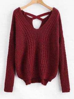 V Neck Cable Knit Cross Back Sweater - Red Wine