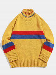 Jersey De Cuello Alto A Rayas De Color Jersey De Cuello Alto - Amarillo Xl