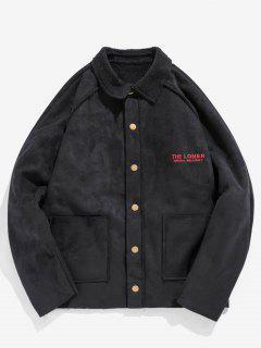 Retro Letter Embroider Fleece Jacket - Black Xl