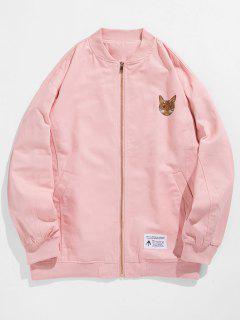 Zipper Cute Animal Printed Jacket - Helles Rosa Xl