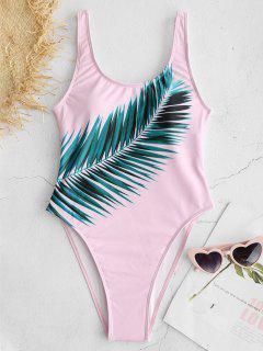 ZAFUL Leaf Print High Cut Swimsuit - Pig Pink S