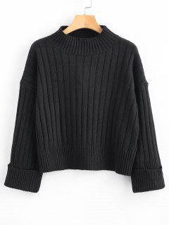 Ribbed Turned Up Cuffs Boxy Sweater - Black L